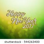 happy new year 2017 green bokeh ... | Shutterstock . vector #544263400