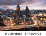 Stock photo basilica saint nicolas church in amsterdam sunset skyline with the traffic light trays 544264438