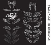 angel wings vector  lettering ... | Shutterstock .eps vector #544274968