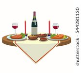 holiday table with wine and and ... | Shutterstock . vector #544281130