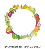 vegetables round frame with... | Shutterstock .eps vector #544281460