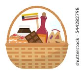 mishloach manot basket with... | Shutterstock .eps vector #544282798