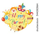 happy purim  template greeting... | Shutterstock .eps vector #544282864