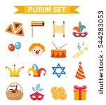 happy purim carnival set of... | Shutterstock .eps vector #544283053