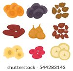 dried fruits set  flat style.... | Shutterstock .eps vector #544283143
