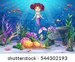 beautiful brunette mermaid ... | Shutterstock .eps vector #544302193