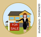 woman realtor shows a house for ... | Shutterstock .eps vector #544304650