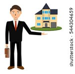 man realtor shows a house for... | Shutterstock .eps vector #544304659