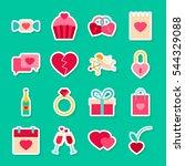 happy valentines day stickers....   Shutterstock .eps vector #544329088