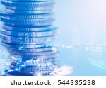 double exposure of coins and... | Shutterstock . vector #544335238