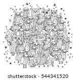 doodles birds group black and... | Shutterstock .eps vector #544341520