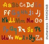 vector hand drawn alphabet.... | Shutterstock .eps vector #544342468
