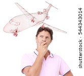 Small photo of A young man is thinking to the red wireframed model of an aircraft - Aircraft model comes from 3D rendering