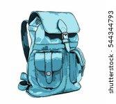 hand drawn vector backpack.... | Shutterstock .eps vector #544344793
