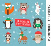 winter cute animals | Shutterstock .eps vector #544345960