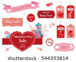 valentine's day set of sale... | Shutterstock .eps vector #544353814