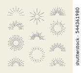 set of vintage sunbursts in... | Shutterstock .eps vector #544361980