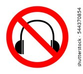 no headphones sign illustration....