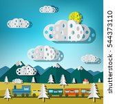train on landscape. vector flat ... | Shutterstock .eps vector #544373110