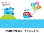 cute whale loves piggy | Shutterstock .eps vector #54439573