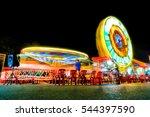 amusement park at night  ... | Shutterstock . vector #544397590