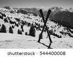 crossed skis standing in snow... | Shutterstock . vector #544400008