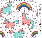 cute vector unicorns and... | Shutterstock .eps vector #544403599