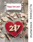 happy new year 2017. heart... | Shutterstock . vector #544412776