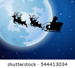 santa claus rides reindeer... | Shutterstock .eps vector #544413034