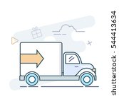 delivery truck vector line... | Shutterstock .eps vector #544413634
