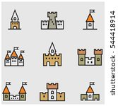 castles colored line icons | Shutterstock .eps vector #544418914