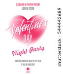 valentines day party poster.... | Shutterstock .eps vector #544442689