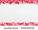 Stock photo many small hearts on the top and bottom on a white background festive background for valentine s 544453933