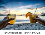 toasting with tropical drinks... | Shutterstock . vector #544459726