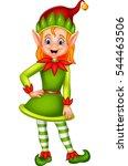 cute green elf posing   | Shutterstock .eps vector #544463506