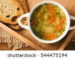 chicken soup in white bowl on... | Shutterstock . vector #544475194