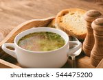 chicken soup in white bowl on... | Shutterstock . vector #544475200