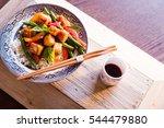 overhead of quick tofu stir fry ... | Shutterstock . vector #544479880