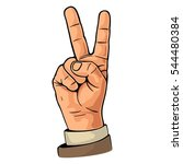 hand sign victory sign   or... | Shutterstock .eps vector #544480384