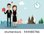 man with  lady and  gift. date. ... | Shutterstock .eps vector #544480786