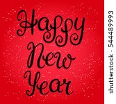 happy new year lettering on red ... | Shutterstock . vector #544489993