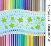 two rows of colored pencils... | Shutterstock .eps vector #544491748