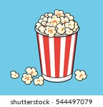 popcorn in a red striped bucket ... | Shutterstock .eps vector #544497079
