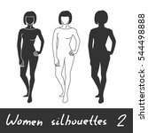 different women silhouettes.... | Shutterstock .eps vector #544498888