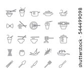 icons with dishes of noodles | Shutterstock .eps vector #544499098