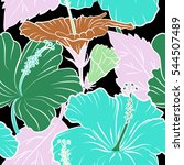 seamless tropical flower ... | Shutterstock .eps vector #544507489