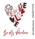 valentines card letters and... | Shutterstock .eps vector #544507570