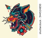 old school panther head with... | Shutterstock .eps vector #544524850
