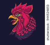 old school rooster head tattoo... | Shutterstock .eps vector #544524853