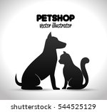 Stock vector pet shop poster dog and cat silhouette 544525129